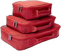 Genius Pack Compression Travel Packing Cubes/Home Organizers - Set of 3 (Red)