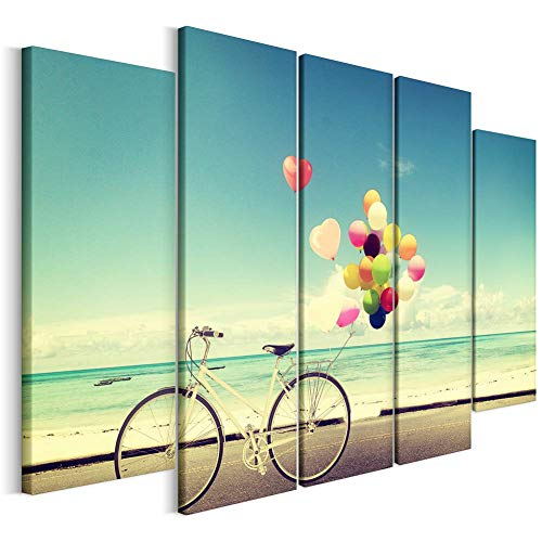 Revolio - Leinwandbild - Wandbilder - Kunstdruck - Design - Wanddekoration - Leinwandbilder auf Keilrahmen 5 Teilig - TYP B - Größe: 100 x 70 cm - Fahrrad Luftballons blau