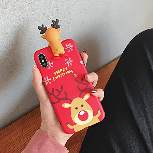 Ultra Slim Soft TPU Red Brown Reindeer Case for Apple iPhone XR 6.1 Inch 2018 Christmas Xmas Theme 3D Shockproof Shock Proof Cartoon Stylish Unique Cute Lovely Cool Fun Girls Teens Kids Boys Son