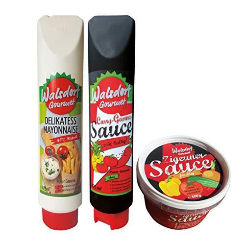 Walsdorf Gourmet Set – leckere Kombination von Delikatess-Mayonnaise, Curry-Gewürz-Sauce und Zigeunersauce - 3er Set