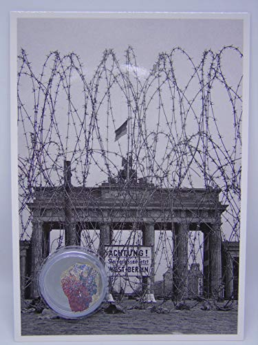POSTCARD WITH SMALL AUTHENTIC PIECE OF THE BERLIN WALL 'Brandenburg Gate & barb wire', Germany
