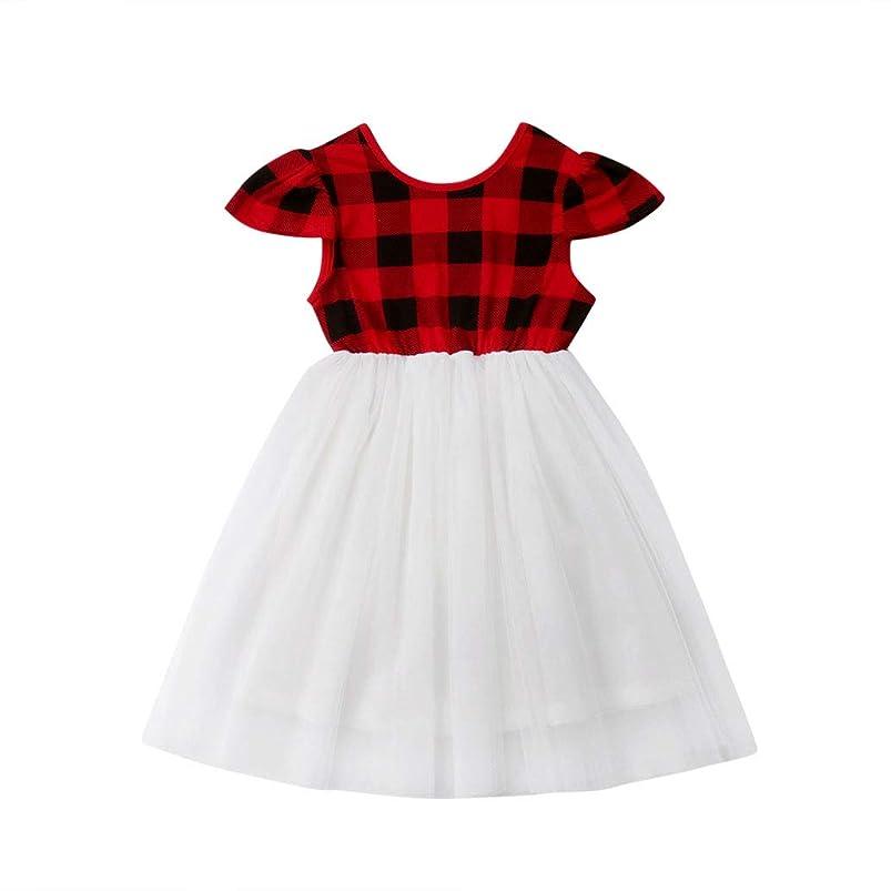 Aaaaamber Toddler Baby Kids Girls Grid Fly Sleeve Dress Yarn Princess Dress Summer Skirt Sundress(6M-5T) yntwinab120712