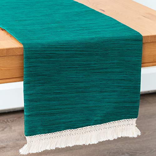 Teal Green Side Table Runners With Macrame Lace Boho Decor (13x36 inch, Pack of 1) Fabric Lined | Properly Finished, No Fray Edges | for Home, Kitchen, Dining Room, Holiday, Wedding Party