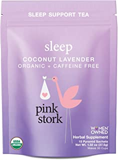 Pink Stork Sleep: Coconut-Lavender Sleep Support Tea, USDA Organic Herbs in Biodegradable Sachets, 30 Cups