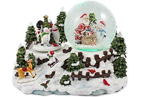 Creation Gross Schneekugel/Spieluhr 100mm, drehende Schneemänner, Licht, Schneeantrieb, 14cm (6900290)