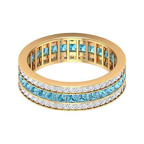 Anillo ancho de la boda, 1,5 ct corte princesa aguamarina, anillo de diamante redondo HI-SI 3/4 ct, anillo de piedra natal de marzo, anillo de aniversario para ella, 10K Oro amarillo, Size:EU 49