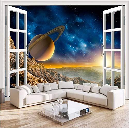 Pmhhc 3D-fotobehang, voor buiten, ramen, landschap, planeet, wandschildering, woonkamer, sofa, tv-achtergrond, behang voor slaapkamer, muren 400 x 280 cm.