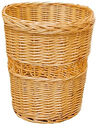 Style Rustic Bin Bamboo Hand Made zonder deksel cilindrische Soup Creative Living Room Storage mand rotan rieten geweven rotan voorraadbak (Kleur: Bruin) Kleur: Bruin (Color : Wood Color)