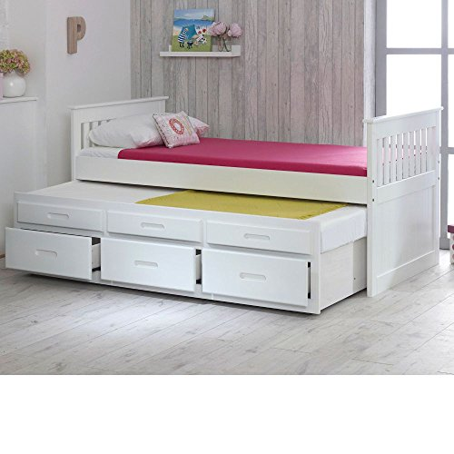 Happy Beds Captains Wooden White Pine Guest Bed Drawers Furniture Frame 3' Single 90 x 190 cm