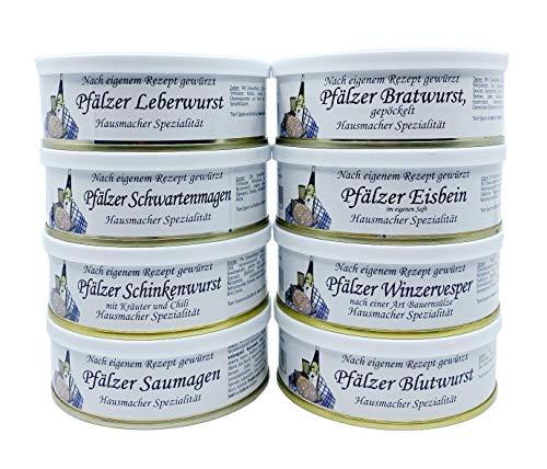 Pfälzer Wurst Dosenwurst Paket Geschenkset im Netz - 8 verschiedene Dosen z.B: Leberwurst, Bratwurst, Eisbein, Saumagen, Blutwurst, Winzervesper, Schwartenmagen, Schinkenwurst (8x200g)