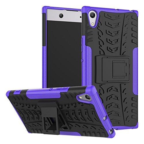 HongMan Handyhülle Kompatibel mit Sony Xperia XA1 Ultra Hülle, Outdoor Handy Tasche Dual Layer Hybrid Hülle Stoßfest Schutzhülle mit Ständer, TPU Silikon + Hard PC Cover Bumper, Violett