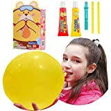 BILIPO Blow Large Plastic Bubble Balloon and Bear Model, 2 Large Size Special Straws and Tubes, Blow The Biggest Plastic Bubbles (Red and Yellow)