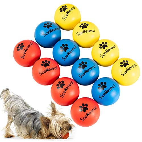 SCENEREAL 12 PCS Rubber Balls for Dogs Dog Training Ball Chew Resistant Dog Ball Sets Dog Ball for Water 1.77 inch High Bounce Floating on Water Dog Ball for Small Medium Dogs