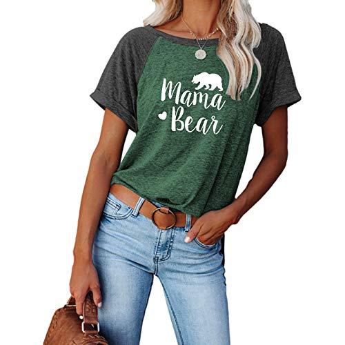 DREAMING-Tops de Verano para Mujer, Jerseys Casuales, Camisetas de Manga Corta con Cuello Redondo Suelto Dividido con Bloqueo de Color M