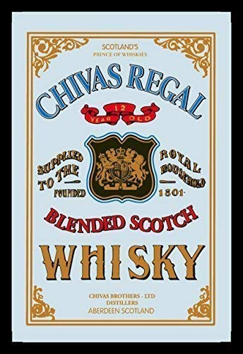 Chivas Regal 12 Jaar Oude Blended Scotch Whisky Nostalgia bar Spiegel Spiegel bar Spiegel 22 x 32 CM
