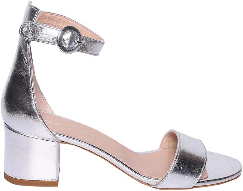 Weiß DI Sandalo Pelle Metallizzata Con Fascia e Laccio alla Caviglia Con Fibbia e Tacco Rivestito 5cm