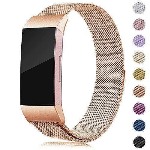 Onedream Kompatibel für Fitbit Charge 3 Armband Damen Herren Metall Edelstahl Ersatzarmband (Royal Gold, Small)