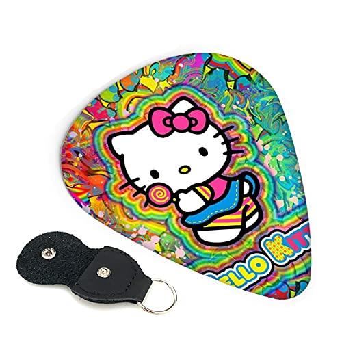Hello Kitty - Púas para guitarra (6 unidades), diseño de anime de anime, incluye púa fina y mediana de 0,46 mm, 0,71 mm, 0,96 mm, para adultos, hombres, mujeres, adolescentes, 0,71 mm