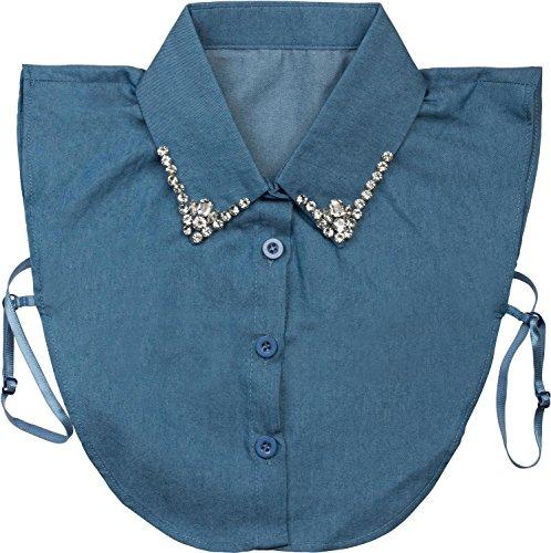 styleBREAKER Damen Blusenkragen Einsatz mit Knopfleiste und Strass, verzierter Kragen für Blusen und Pullover 08020001, Farbe:Jeansblau