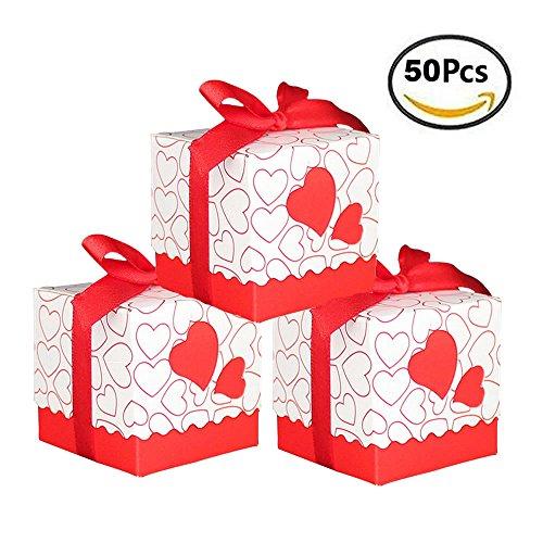 Bomboniere Hart Doos Deur Confetti CONFETTI Placeholder Geschenk met de Tape Satijn 50 stks (Rood)