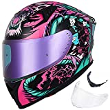 ILM Motorcycle Helmet Full Face with Pinlock Compatible Clear&Tinted Visors and Fins Street Bike Motocross Casco DOT(Legend Pink, Large)