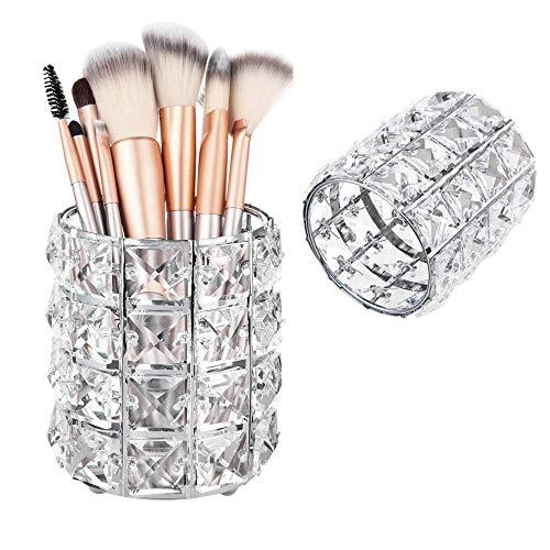 Kristall Make-Up Pinselhalter , Kosmetische Speicherorganisator Eimer Lippenstift Augenbrauenstift Stift Container Kommode Desktop Werkzeug (Sliver)