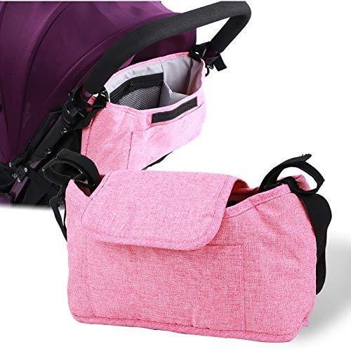 Bolsa colgante para cochecito ligero, organizador de cochecito de bebé, interior para cochecito de bebé, cochecito de bebé al aire libre(Flax powder bag (free shoulder strap))