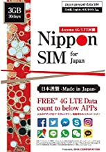Nippon SIM for Japan 30 days Unlimited 4G/LTE data for 10 APPs (Google Map, Facebook, Instagram, Twitter, Messenger, Whatsapp, Skype, LINE, WeChat, Kakaotalk); 3GB for other APPs/Web; 128kbps afte