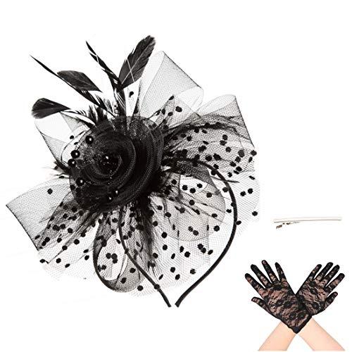 SAFERIN Fascinator Hair Clip Pillbox Hat Bowler Feather Flower Veil Wedding Party Hat Tea Hat (TA7-Black)
