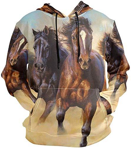 Animals Wild Horses Galloping Pullovers Hoodie Long Sleeve Hooded Athletic Hoodies Sweatshirts