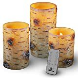 "M Mirrowing Flameless Candles, Decorative Birch Bark Wood Rustic Candle, Glitter, Overlap. Set of 3 3.25""Dx4/5/6""H, Real Wax, Realistic Flickering, Remote Control, Battery Operated LED Candles"