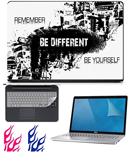 FineArts Combo of UV Printed Laptop Skin, Screen Protector Guard with Keyboard Guard for 15.6 inch Laptop and Fire Decal for Mobile Phones