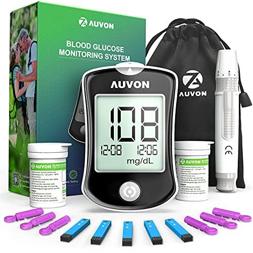 AUVON DS-W Blood Sugar Test Kit (100 Test Strips, 100 30G Lancets), High-Tech Diabetes Blood Glucose...