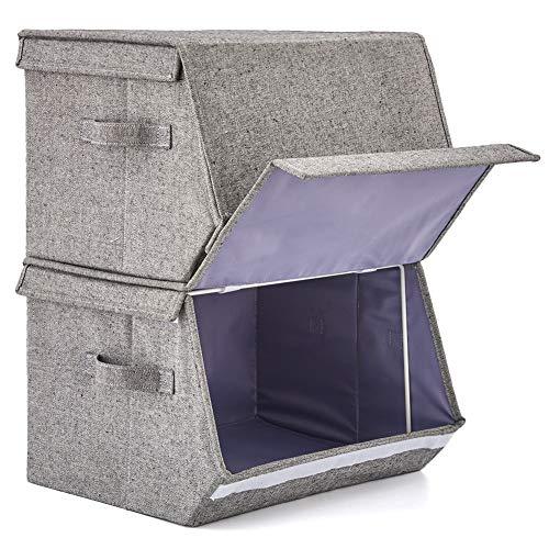 EZOWare 2 Pcs Cajas de Almacenaje Apilable, Cubo Decorativa Cestas Plegable de Tela Con Tapa y Asas para Ropa, Juguetes, Armario, Dormitorio, Estanterías y Mas - Gris