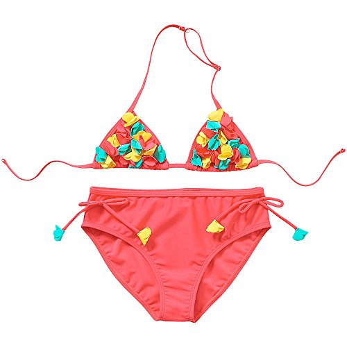 H2O Older Girls 3D Cut Out Flower Detail Two Piece Triangle Bikini Set - Coral - 11/12 Years