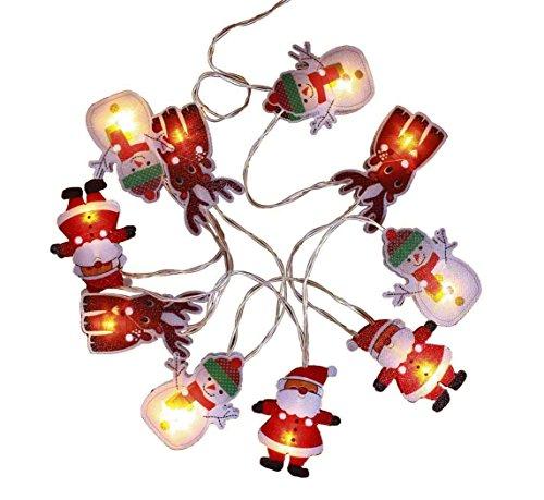 Haac Catena di 10 luci LED a forma di Babbo Natale, pupazzo di neve, renna di Natale, con 10 statuette di Natale, lunghezza 210 cm