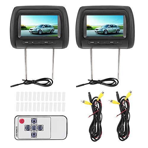 Reposacabezas para reproductor de coche Display-2pcs 7 en Control inalámbrico LCD ajustable Video USB MP5 Pantalla portátil/remota Negro
