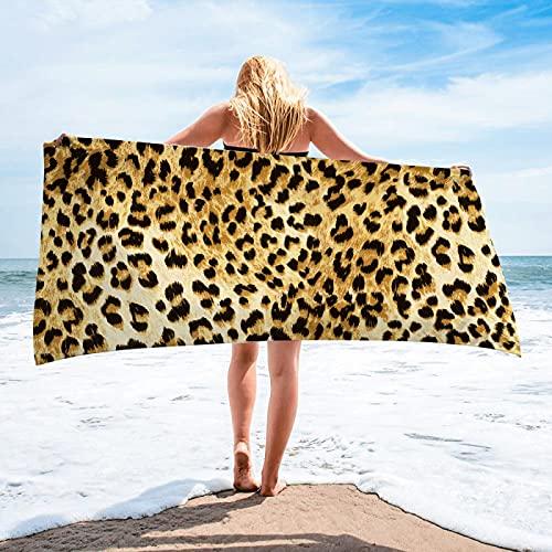 Toallas De Playa con Estampado De Leopardo, Toallas De Baño De Microfibra Súper Absorbente De Secado Rápido, Toallas Multifuncionales, Colchonetas De Playa, Toallas De Piscina 75 * 150cm