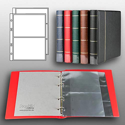 Prophila Kobra banknotes Album (red) with 20 Pockets for 50 banknotes