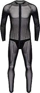 Alvivi Men's Sheer Mesh See Through Lingerie Long Sleeves Wrestling Singlet Jumpsuit with G-String Briefs