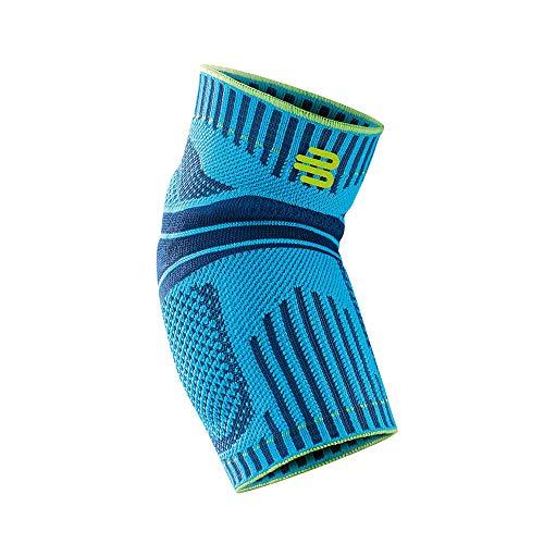 Bauerfeind Unisex Ellenbogen-Sportbandage, für Ball- und Rückschlagsportarten, Stabilität am Ellenbogengelenk, Silikonring, Gr. XS, rivera, 1 Stück