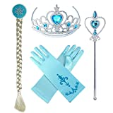 Accessories 4 set includes: Pair of shimmering blue gloves + tiara/crown + magic stick/wand/scepter + wig Blonde braided hairpiece completes with blue hair clip. Our cool tiara of silver with blue heart rhinestones Perfect for various princess costum...