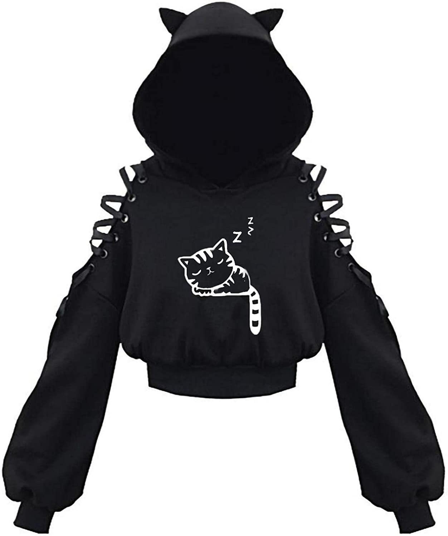 MASZONE Crop Hoodies for Teen Girls Trendy Cute Cat Ear Hooded Long Sleeve Sweatshirts Black Hollow Shoulder Pullover