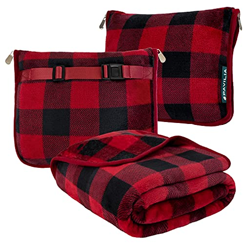 PAVILIA Travel Blanket and Pillow, Dual Zippers, Clip On Strap |Warm Soft Fleece 2-in-1 Combo Blanket Airplane, Camping, Car |Large Compact Blanket Set, Luggage Backpack Strap, 60 x 43 (Checker Red)