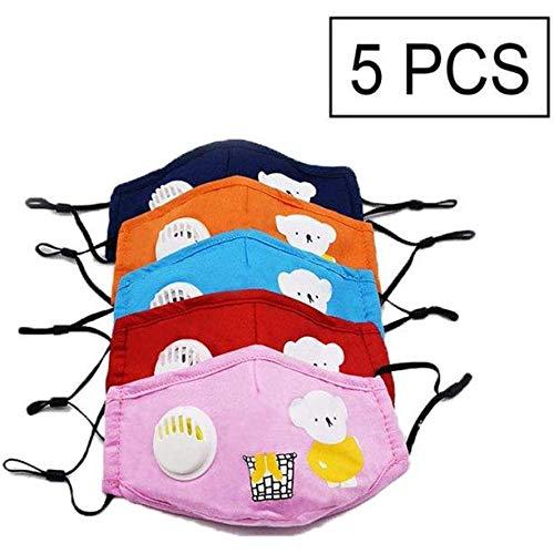 NIDAYE 5Pcs Oso de dibujos animados Válvula de respiración infantil Algodón Toalla Filtro de polvo, lavable y repetible