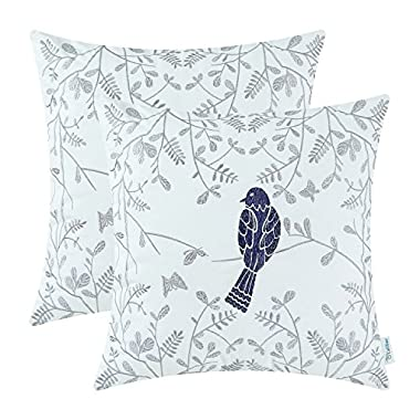 CaliTime Pack of 2 Cotton Throw Pillow Cases Covers for Bed Couch Sofa, Cute Bird in Gray Garden Embroidered, 18 X 18 Inches, Navy Blue