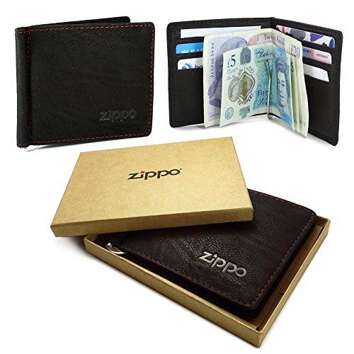Zippo Personalised Genuine Leather Bi-Fold Men' s Wallet & Money Clip–Mocca Brown