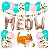Cat Birthday Party Supplies, Kitty Birthday Party Decorations, Meow Balloons, 30pcs Latex Balloons, Balloon Ribbon, Cat balloon, Polka Dot Garland and Cat Pet Birthday Decors
