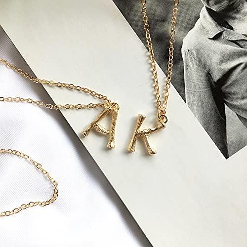 ShSnnwrl Colgante Collares con Colgante de Letra de bambú pequeños de Color para Mujer, Collares Minimalistas con Personalidad, g