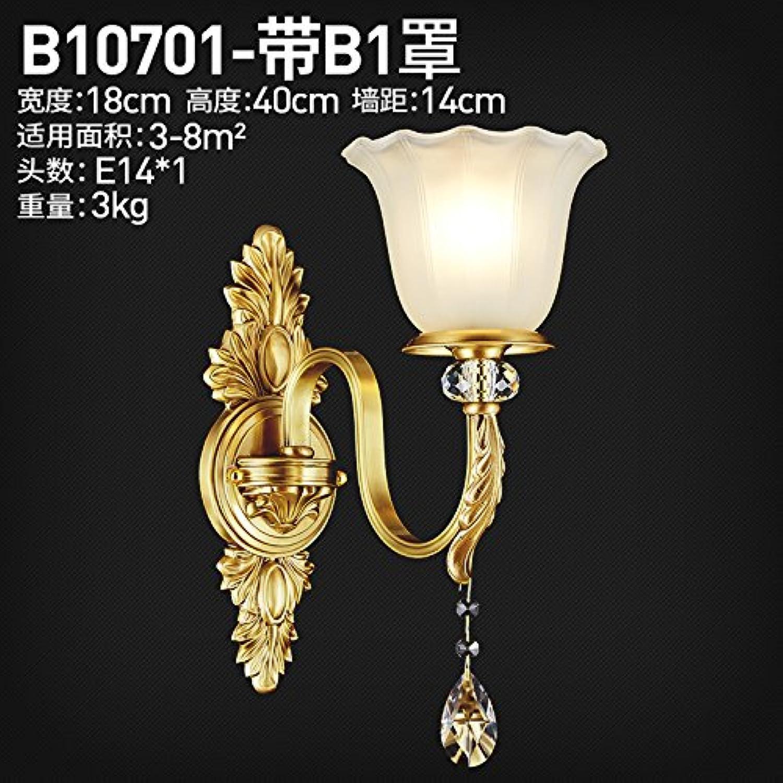 StiefelU LED Wandleuchte nach oben und unten Wandleuchten Kupfer Crystal Wand lampe Schlafzimmer Nachttischlampe im Wohnzimmer, antiken Hyun-off-Studie, einem Kopf-B 10701 Haube mit B1.